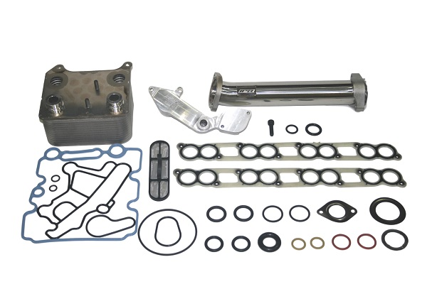 ipr gen2 egr delete kit with up pipe, ford oem oil cooler & gaskets for all  2005-2007 ford powerstroke 6 0 will fit f250, f350, f450